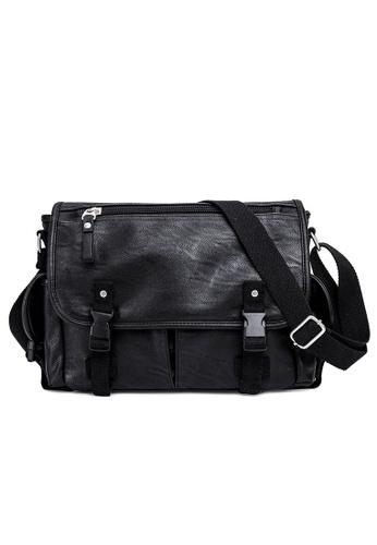 Lara black Men Plain Flap Buckle Messenger Bag - Black E78DFAC498DCC6GS_1