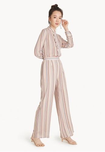 Pomelo beige Stripe High Waisted Wide Leg Pants D6534AA824E35FGS_1