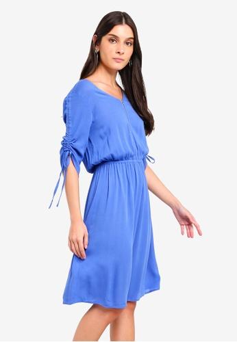 ZALORA blue Zip Detail Ruched Sleeves Dress 0E3E5AA8235FFDGS_1