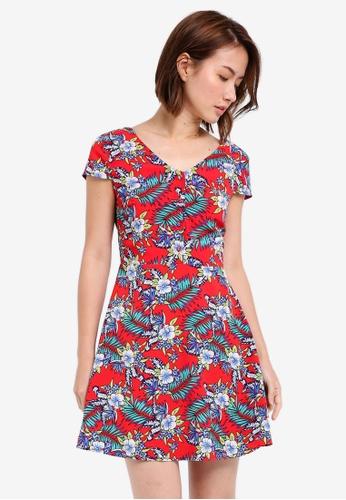 ZALORA orange Cap Sleeves Mini Dress B0F95AA4295BDCGS_1