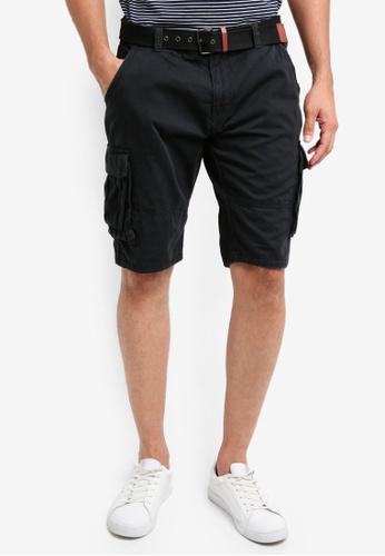 2ba0f4e3e4 Indicode Jeans black Monroe Cargo Shorts With Belt 35FE9AACDF8938GS_1