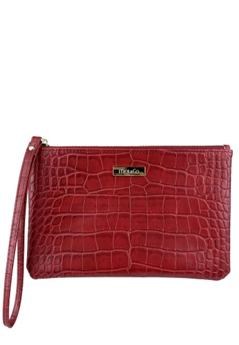 Mel&Co red Faux Leather Croco Embossed Wristlet FC525ACA089A9AGS_1
