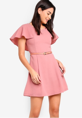 ZALORA pink Capelet Fit And Flare Dress With Belt 82EA3AA51BEA1CGS_1