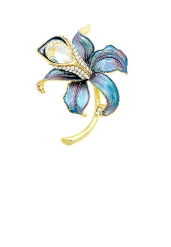 Glamorousky silver Blue Flower Brooch with Silver Austrian Element Crystal and CZ D4842ACBC13F81GS_1