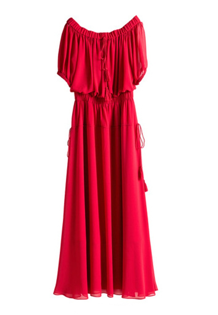 Wine Tassels Dress Off 2 Hopeshow Shoulder Red Layered with q06wXPw