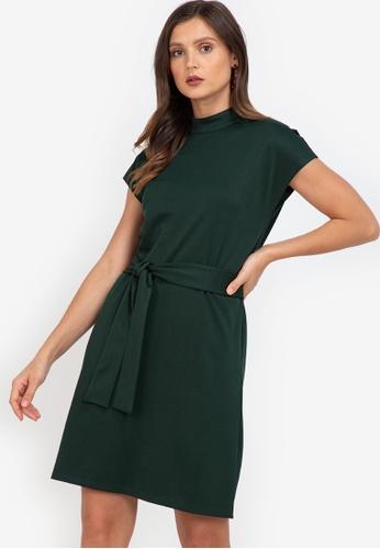 ZALORA WORK green Mock Neck Self Tie Dress 52358AA6D153D5GS_1