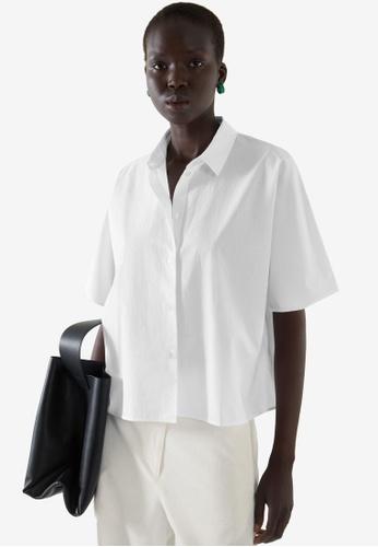 COS white Boxy Short-Sleeves Shirt 0A4FDAA8631608GS_1