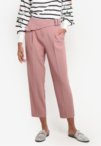 TOPSHOP pink Ruffle Peg Trousers TO412AA0ROVZMY_1