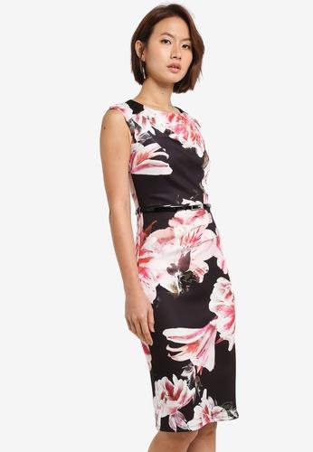 Dorothy Perkins black Scarlett B Black Floral Ruuched Bodycon Dress 5EBE3AA77B563AGS_1