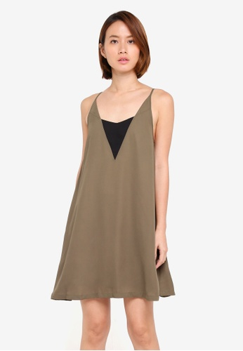 ZALORA green Cami Dress 9F4E0AADB972CBGS_1