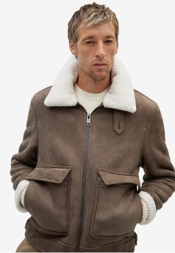 MANGO Man brown Shearling-Lined Aviator Jacket 656EEAA98822D5GS_1
