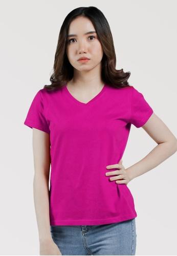 CROWN pink Ladies VNeck Tshirt C5010AA8DA6ED0GS_1
