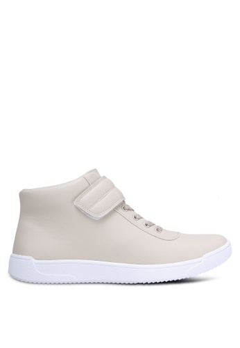 ZALORA beige Faux Leather High Top Sneakers 86EFASH6B6C098GS_1