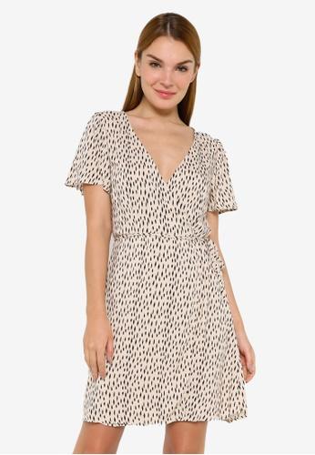JACQUELINE DE YONG brown and beige Staar Life Short Sleeve Wrap Dress 8D06BAA5F7013DGS_1