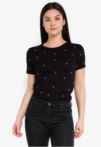 Dorothy Perkins black Black Daisy Embellished T-Shirt A68BBAAD9866D0GS_1