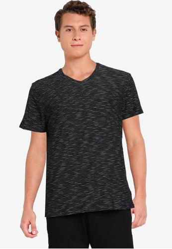 Old Navy black Striped Slub-Knit V-Neck T-Shirt F0474AA04DCE27GS_1