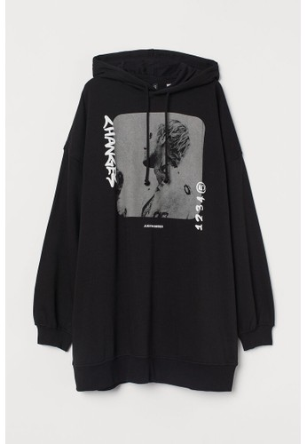 H&M black Oversized hoodie FB6FAAACC40808GS_1