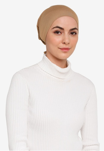 Hijabii brown Naia Tie Back Snowcap in Coffee 943E6AAC7C3788GS_1