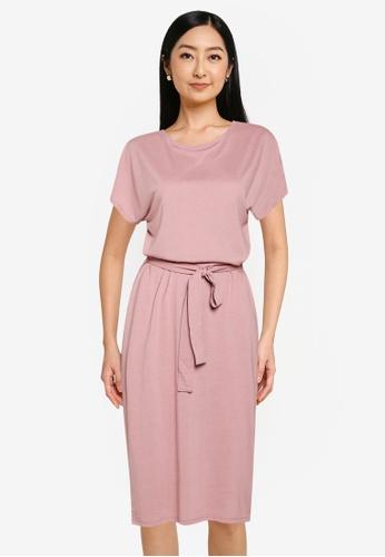 JACQUELINE DE YONG 粉紅色 短袖腰帶 洋裝 E2663AAA467481GS_1