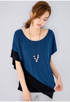Asymmetrical Cropped 2-in-1 Tee