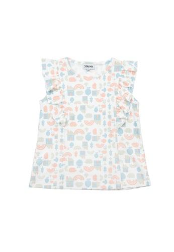 Vauva white Vauva Girls Rainbow House Pattern Frilling Sleeves Top - White 876FFKA578B2E1GS_1