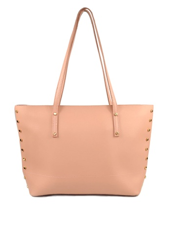 SHINE pink SHINE Faux Leather Pocket Tote Bag 059BFAC1579B61GS_1