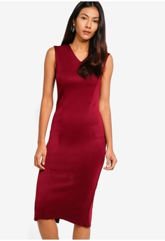 ad81de7d3b40 ZALORA BASICS red Basic V-Neck Scuba Shift Dress 429A8AAA915B8FGS 1