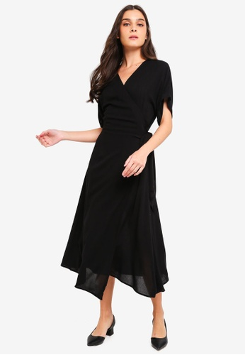 374d71b4c9c9 Buy ZALORA Kimono Sleeves Wrap Midi Dress Online on ZALORA Singapore