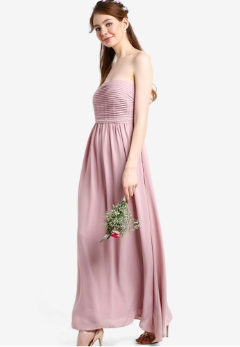 ZALORA pink Bridesmaid Pleated Bandeau Maxi Dress 8B496AAC9E1797GS_1