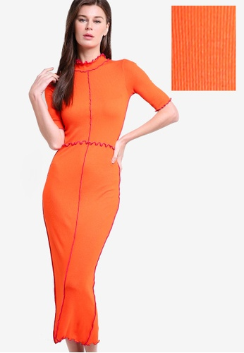 WAREHOUSE red Rib and Frill Dress WA653AA84CGLMY_1