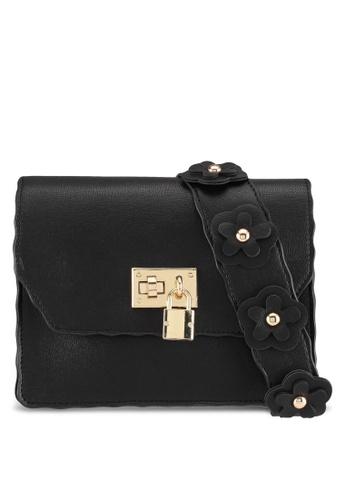 Velvet black Small Shoulder Bag With Floral Strap B441EACDB85F23GS_1