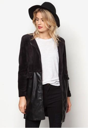 PU拼接拉鍊zalora是哪裡的牌子外套, 服飾, 夾克 & 大衣