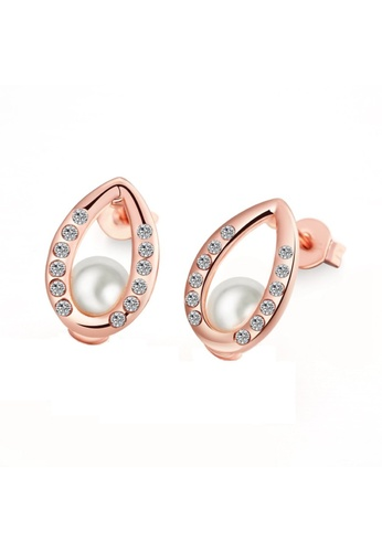 Treasure by B & D gold E023 Czech Drilling Oval Shaped Stud Earrings With Artificial Pearls Inlayed TR022AC60XPZPH_1