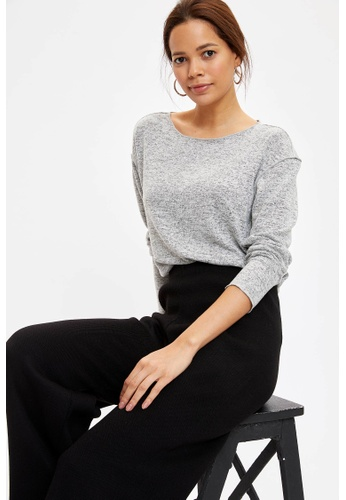 DeFacto grey Woman Knitted Long Sleeve T-Shirt C1CAEAAC999C95GS_1