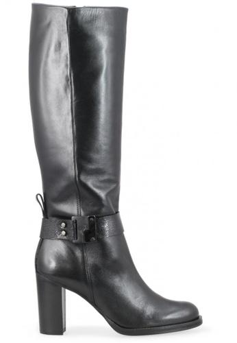 Shu Talk 黑色 Zinda 高雅型格皮帶扣高跟靴型格內增高真皮皮靴 SH544SH099XZTW_1