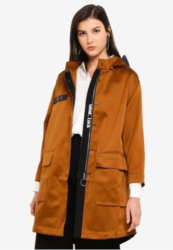 Hopeshow brown Long Sleeve Windbreaker Jacket 491DAAA5EC3B8AGS_1