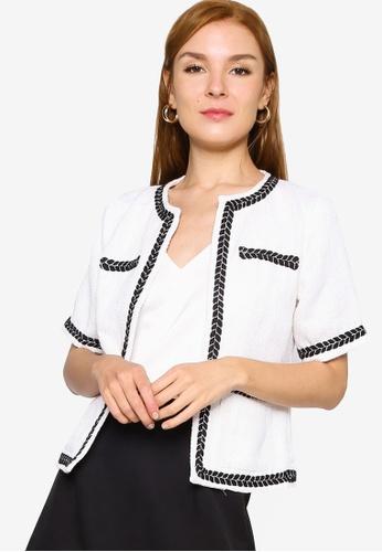 ZALORA WORK beige Short Sleeve Tweed Jacket 5A978AA769C244GS_1