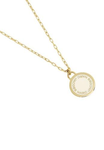 Marc Jacobs white and gold Marc Jacobs Enamel Logo Disc Pendant Necklace M0008546 Cream Gold 67697ACC85F281GS_1