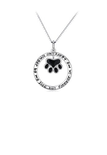 Glamorousky silver 925 Sterling Silver Simple Cute Dog Paw Geometric Circle Pendant with Necklace 97628AC5B024E6GS_1