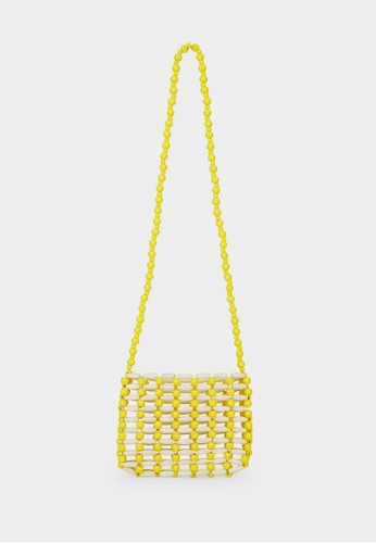 Pomelo yellow Beaded Square Crossbody Bag - Yellow 0558FACE20FAC5GS_1