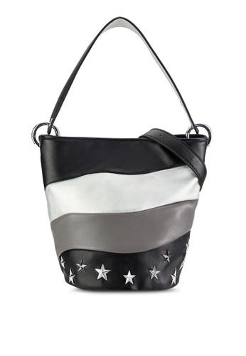 Something Borrowed black Starry Wavy Bucket Bag AF8E9ACCC98994GS_1