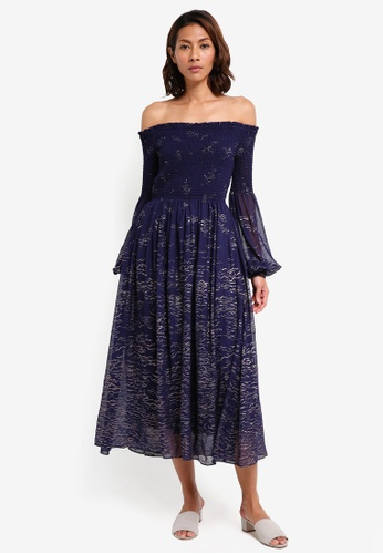 Free People Foiled Smock Midi Dress - BK1iaZp ,