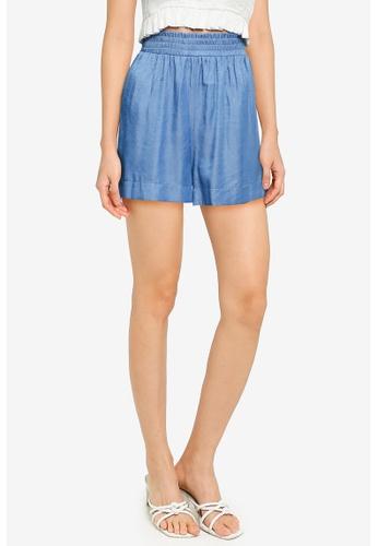 ZALORA BASICS blue Lightweight Paper Bag Shorts 1894BAAC038364GS_1