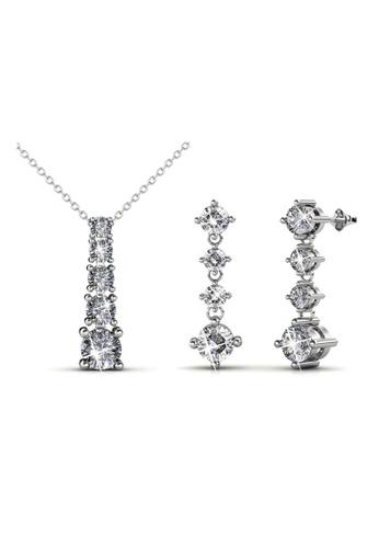Her Jewellery silver Swarovski® Crystals - Amanda Set (18K White Gold Plated) Her Jewellery HE581AC87JVKMY_1