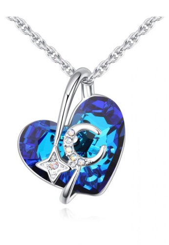 LOVENGIFTS blue Royal Blue Collection Heart With Moon Stars Pendant Necklace 811F7ACCB68D92GS_1