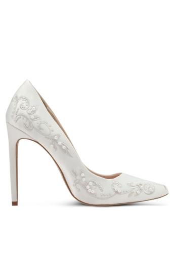 Velvet white Beaded Satin High Heels 9557DZZ4E1F837GS_1