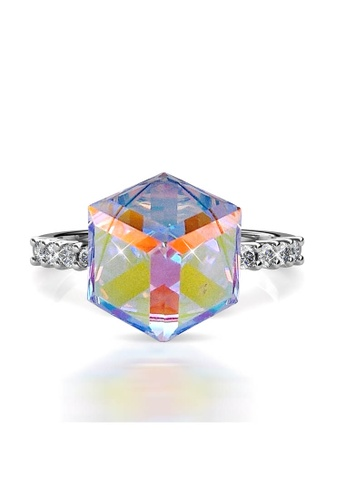 Her Jewellery silver Cube Ring(AB Rainbow)-Made with premium grade crystals from Austria DF809AC24AAB1EGS_1
