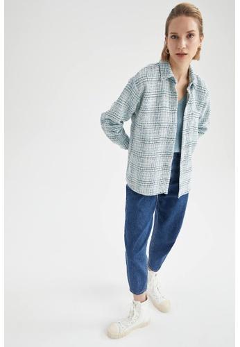 DeFacto blue Long Sleeve Shirt Jacket 481B9AA733B534GS_1