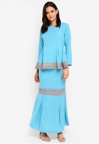 Aqeela Muslimah Wear blue Qhalisha Peplum Lace Kurung CF025AA8705386GS_1