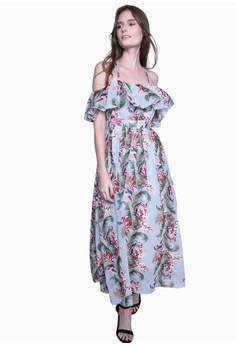 8156cf4398c55e Caoros blue Open Shoulder Floral Maxi Dress F2D2BAA4407C3DGS 1